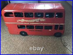Very rare triang large pressed steel double decker bus Excellent Working Bell