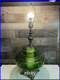 Victorian Green Glass Table Lamp Vintage LARGE 35 Tested & Working VERY RARE