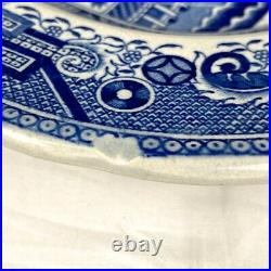 Vintage Large Staffordshire WB&C England Blue Willow Platter, Very Rare Mark