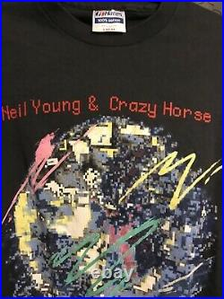 Vintage Neil Young T Shirt 1987 Crazy Horse Life 80s Tour Tee Large Very RARE NM
