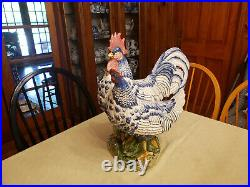 Vintage Vietri Rooster and Hen Large Glazed Figurine from Italy. Very Rare